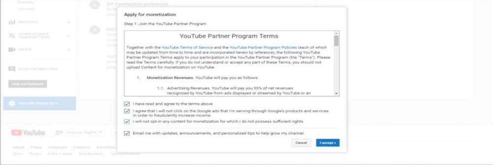 agree to YouTube partners program terms